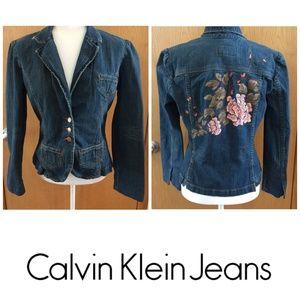 Calvin Klein Jeans Cropped Jacket Floral Embroider